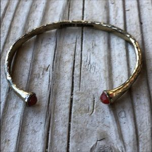 🎁 Lucky Brand Antique Brass Natural Stone Bangle!
